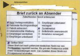 Gelber Brief Aufkleber